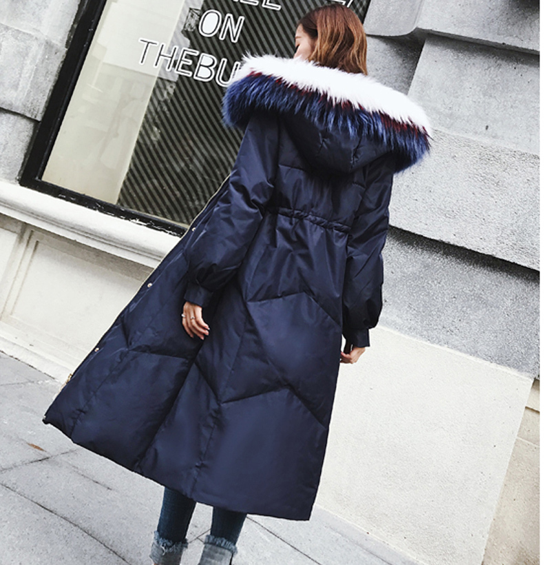 New Fashion Winter 90% Duck Down Jacket Women Luxury Natural Fur Coat Long Hooded Down Jacket Parka Casaco LX2263