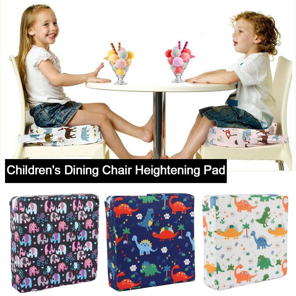 Kids High Chair Portable Booster Seat Cushion Dining Chair Heightening Seat Cushion Student Adjustable Dinosaur Elephant Printed