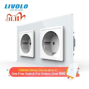 Livolo C7C2EU-11/12/13/15 बिजली के आउटलेट, टेम्पर्ड ग्लास दीवार आउटलेट, यूरोपीय मानक, 16/4 रंग