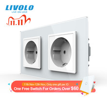 Livolo EU Standard Wall Power Socket, 4colors Crystal Glass Panel, Manufacturer of 16A Wall Outlet, C7C2EU 11/12/13/15