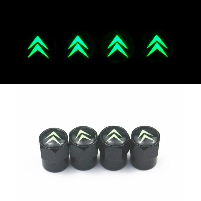 4pcs Luminous Car Tire Valve Cover Wheel Air Protection Cap For Citroen C4 C5 C3 C2 C1 C4L Picasso Saxo Car Styling Accessories