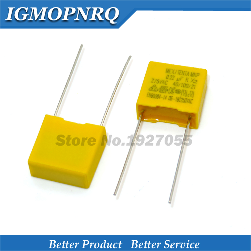 10pcs 275VAC 0.22nF capacitor X2 High quality 275VAC 220NF Pitch 15mm X2 Polypropylene film capacitor 0.22uF new image