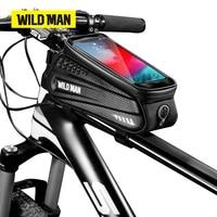 WILD MAN Bicycle Bag Hard Shell 6.2 Reflective Rainproof Touch Screen Phone Case Bag Bike Top Tube Bag Cycling Accessories