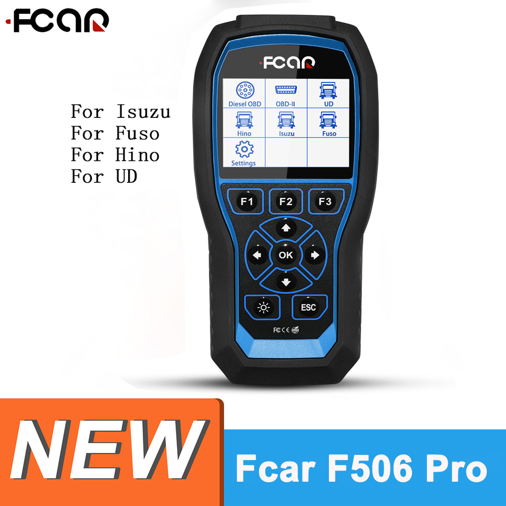 Fcar F506 Pro HD Diagnostic Tool for Isuzu UD Hino Fuso Diesel Truck Pickup Bus Excavator Heavy Duty OBD2 Automotive Scanner|Engine Analyzer| |  - title=