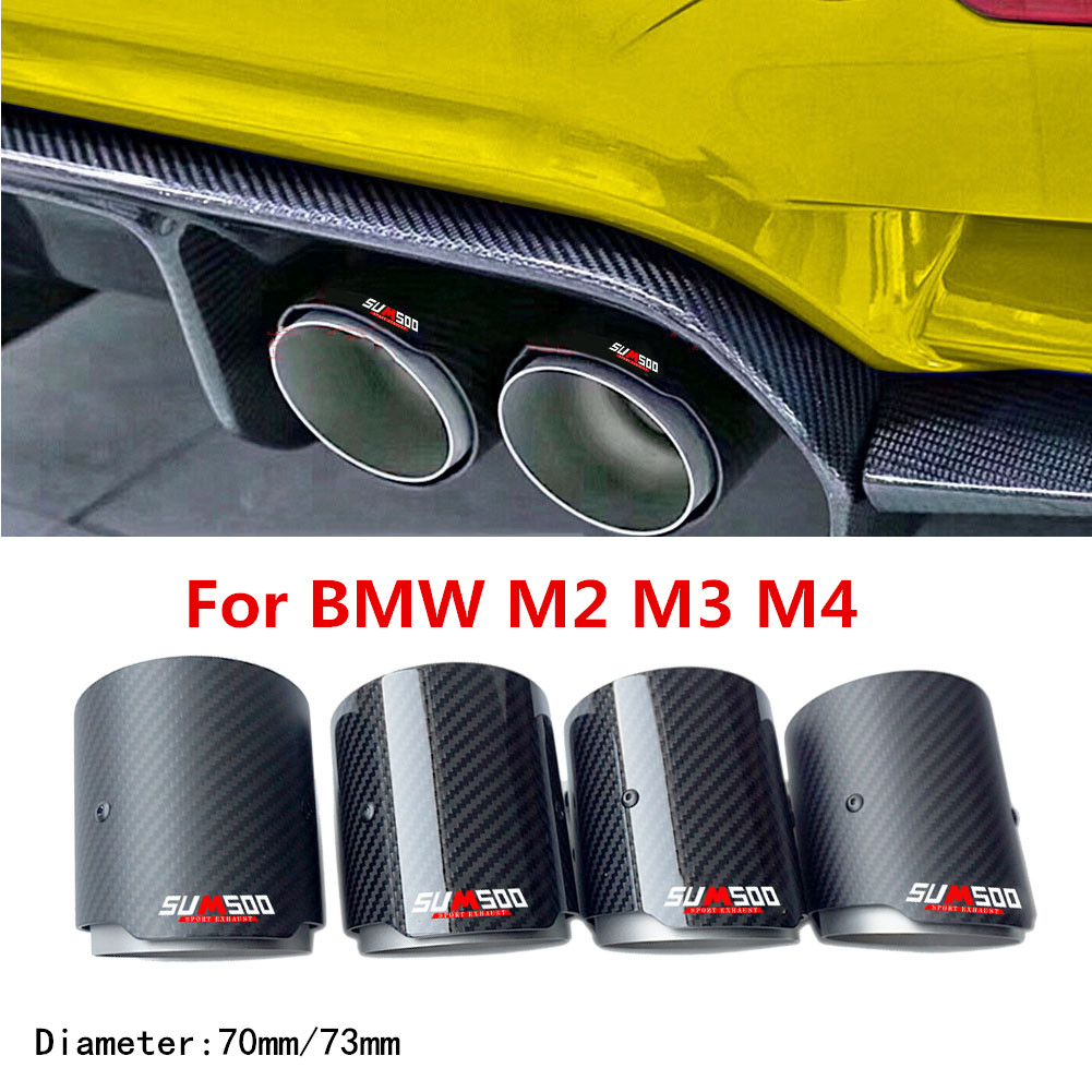 Bmw m2 m3 용 배기 테일 파이프 m4glossy 탄소 머플러 팁 테일 엔드 범용 스테인레스 스틸 스트레이트 플랜지 블랙