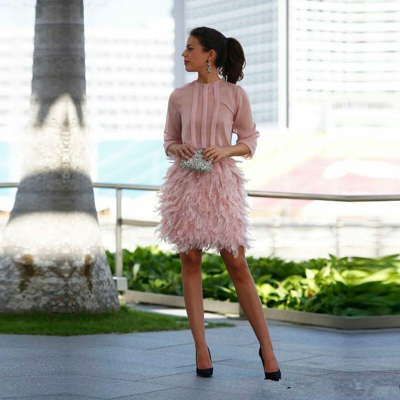Pink 2019 Elegant Cocktail Dresses Sheath 3/4 Sleeves Chiffon Feather Short Mini Homecoming Dresses