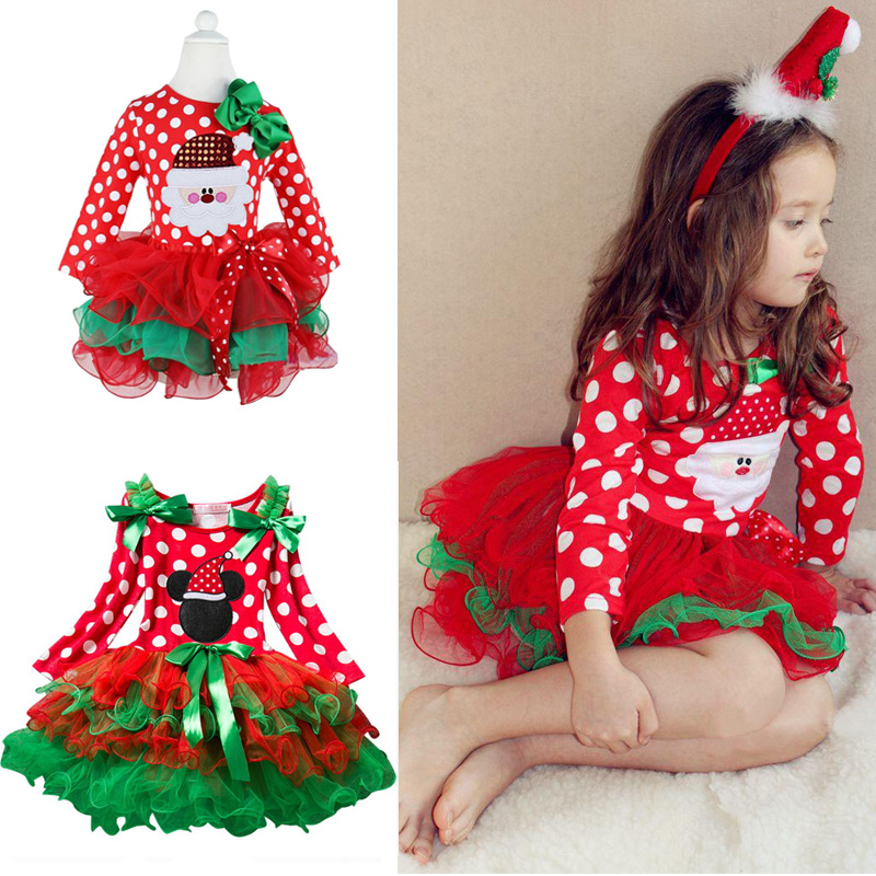 Fancy New Year Baby Girl Carnival Santa Dress For Girls Summer Minnie Mouse Holiday Children