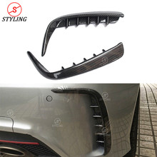 A45 AMG Rear Canard For Mercedes W176 A250 A260 Brabus Style Carbon Fiber Bumper Splitter Trim 2012 2013 2014 2015