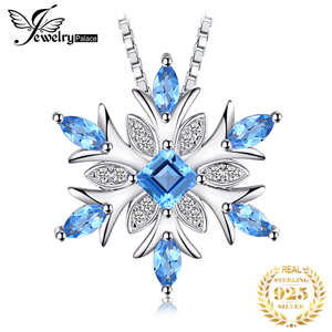 Image 1 - JPalace Snowflake Natural Topaz Pendant Necklace 925 Sterling Silver Gemstones Choker Statement Necklace Women No Chain
