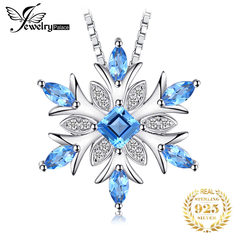 JPalace Snowflake Natural Topaz Pendant Necklace 925 Sterling  Silver Gemstones Choker Statement Necklace Women Without Chainpendant  blue topazchain pendantchain women