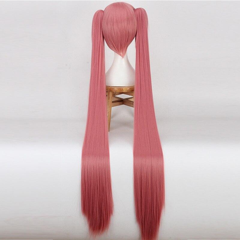 Игра Хацунэ Мику косплей парик конский хвост пучки косплей парик Длинные розовые косички косплей прямые волосы для женщин девочек аниме парики