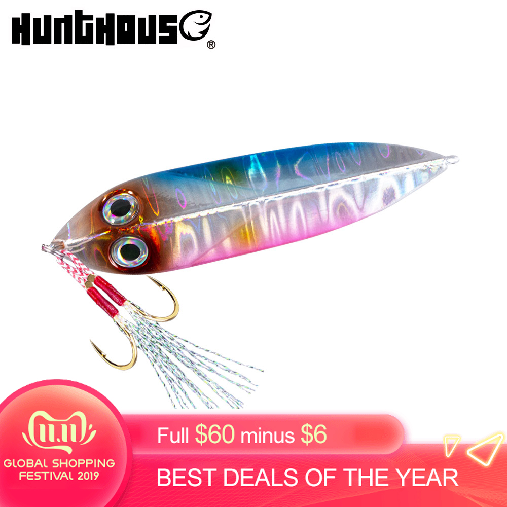 Hunthouse fishing lure 2019 shore jigging slow <font><b>metal</b></font> <font><b>jig</b></font> hard saltwater lure 20g 30g 40g <font><b>60g</b></font> for sea bass bluefish image