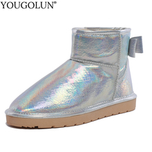 Cow Leather Snow Boots Women Flat Winter Shoes A368 Woman Ankle Fashion Bowknot Ladies Red Silver Gun Warm