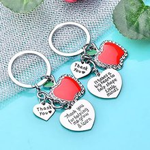 Thank You Teachers Love Heart Keychain Chic Red  Keyring Thanksgiving Teacher School Party Gifts Souvenir Key Chains Rings