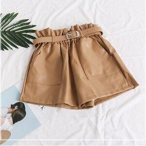 High Waist PU Leather Shorts Women Cool Punk Sashes Wide leg Shorts Spring Autumn Casual Loose Elastic Waist Leather Shorts 2019