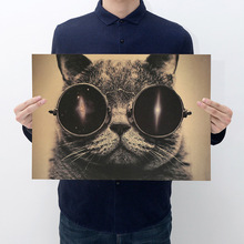 Room decoration yu pet cat kraft paper retro poster wall sticker household items decorative painting