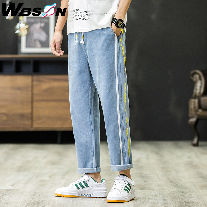 Wbson Spring New Fashion Korean Style Blue Jeans Pants Men Loose Side Striped Denim Trousers Men LWKS667
