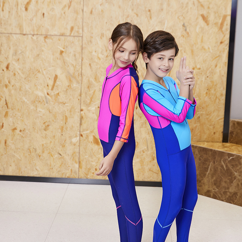 2019 New Style Zhuo Lang Contrast Color One-piece Swimsuit For Children Diving Suit Swimming Training-