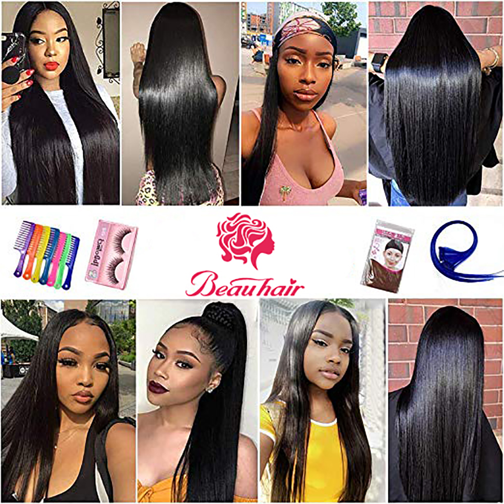 Beauhair Straight Hair Frontal With Bundles Human Hair Bundles With Frontal Brazilian Hair Weave Bundles With Closure Frontal