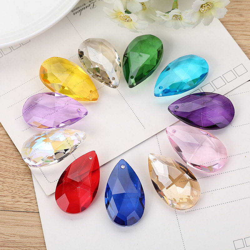 Camal 5pcs 38mm Faceted Waterdrop Crystal Pendant Prisms Chandelier Wedding Party Curtain Christmas Hanging Ornaments Decor