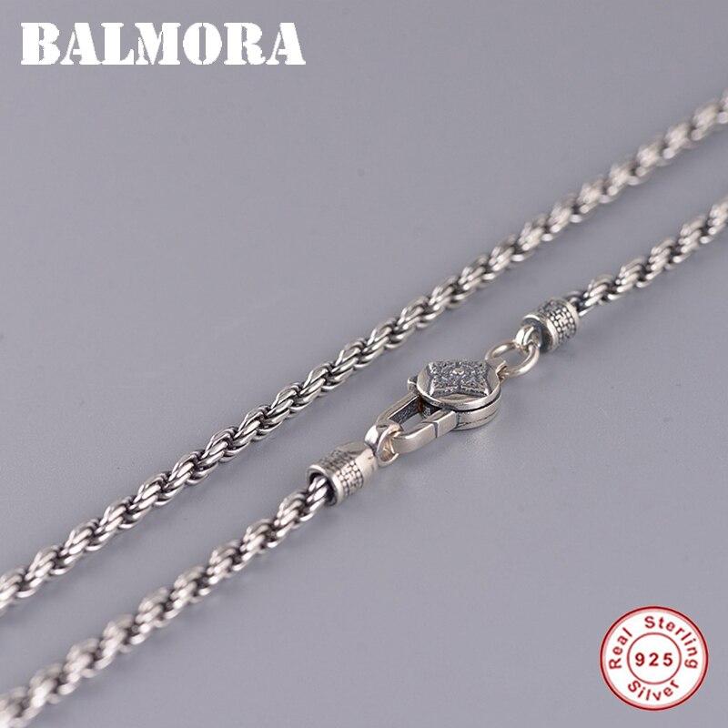 BALMORA Real 925 argent Sterling rétro bouddhisme Six mots Sutra tissage chaîne colliers pour femmes hommes Couple Cool mode bijoux