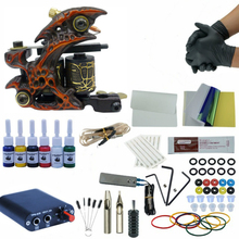 цены на Tattoo Kit Professional 1Tattoo Gun Machine Set 6colors Ink Set Power Supply Grips Body Art Tools Permanent Makeup Tattoo Set  в интернет-магазинах