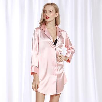 Lato sztuczny jedwab koszula damska piżama serwis domowy seksowna damska koszula nocna dekolt romantyczny różowy tanie i dobre opinie Rayon WOMEN Spać topy sy-004 Pełna Polyester Stałe Wiosna V-neck