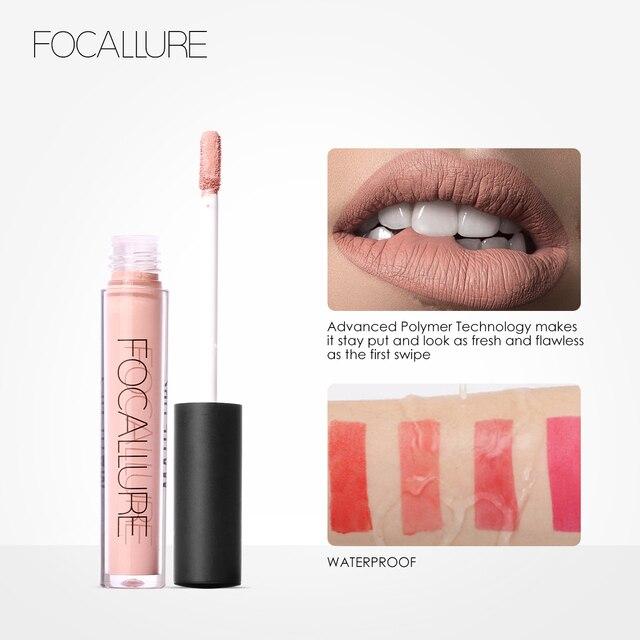 FOCALLURE-labial sexy, mate y brillante, lapiz labial líquido de larga duración resistencia al agua, la duración es de 24 horas, cosmética para la belleza 3