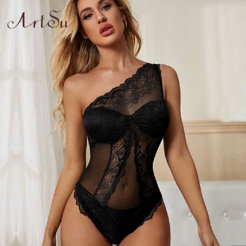 Artsu One Shoulder Lace Bodysuit Tops Club Night Wear Transparent Sexy Bodys Black Overalls Sleveless Women's Rompers Body Suit