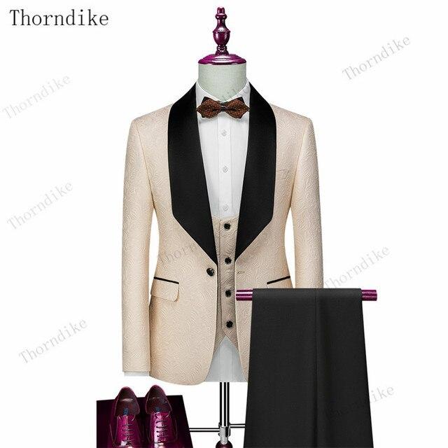 Thorndike Mens Wedding Suits  White Jacquard With Black Satin Collar Tuxedo3 Pcs Groom Terno Suits For Men(Jacket+Vest+Pants) 5