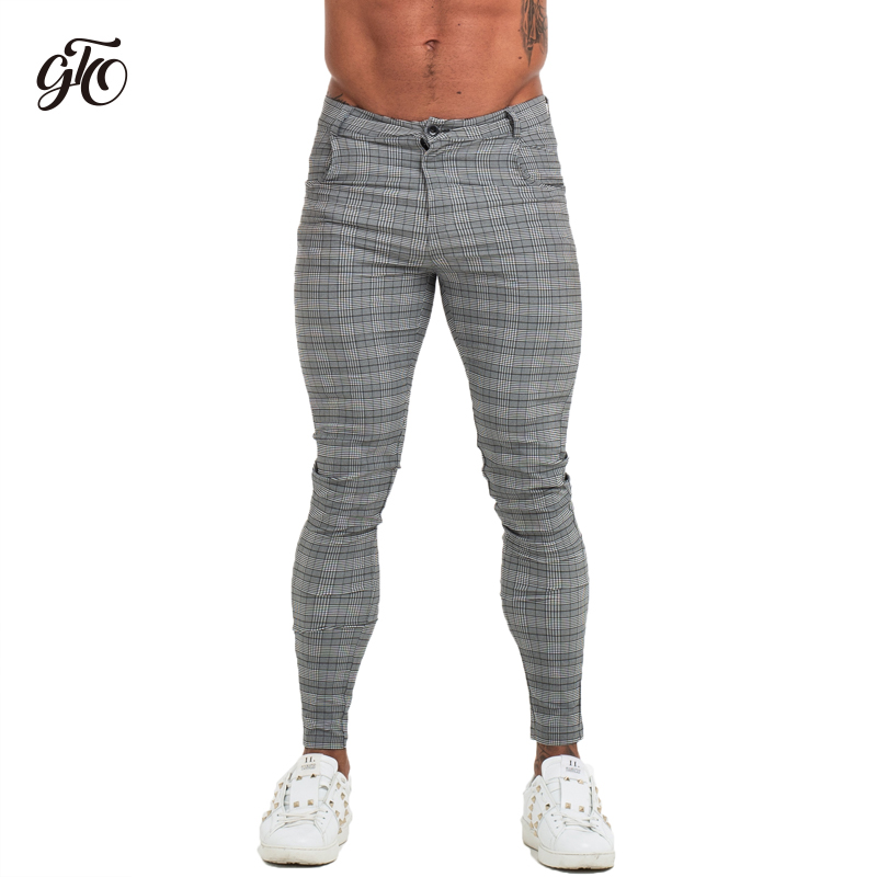 GINGTTO Men's Chinos Trousers Skinny Fit Grey Chino Pants For Men Full Length Comfy Stretchy Chinos Slim Fit Zm360