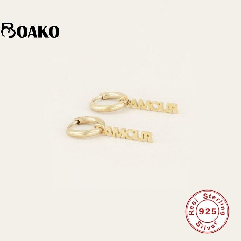 Женские серьги-кольца из серебра 925 пробы, с надписью «любовь»