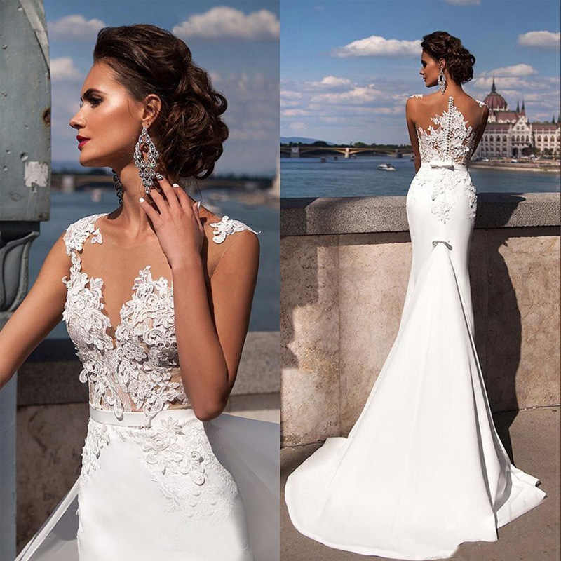 BacklakeGirls Sexy V Neck White Satin Wedding Dress Vestaglia Sposa Court Train Lace Mermaid Wedding Gowns Mariage Champêtre