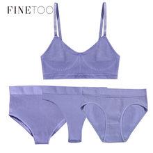 FINETOO – ensemble 1 haut + 3 culottes pour femmes, soutien-gorge sans couture, string, hauts doux, taille haute, Lingerie Active