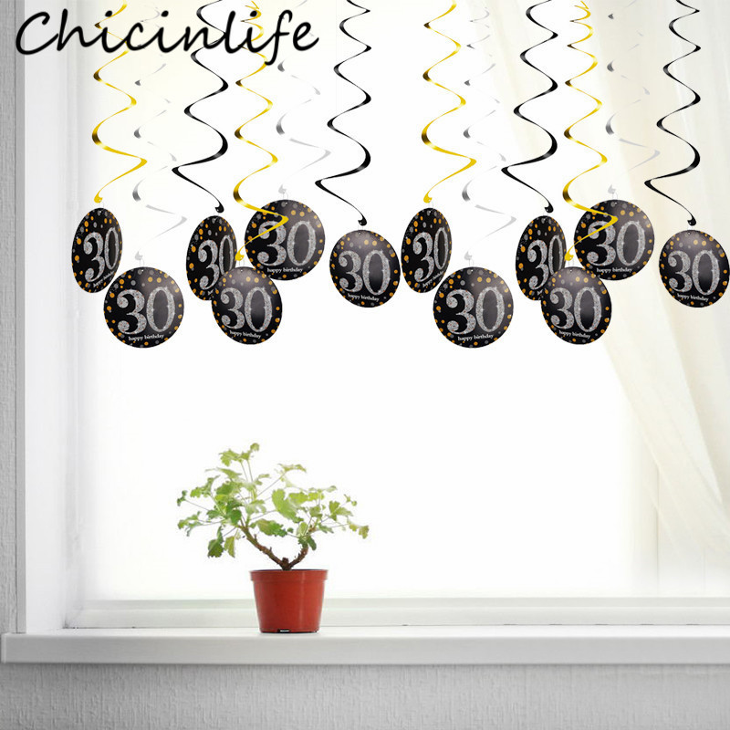 Chicinlife 6Pcs 30 <font><b>40</b></font> <font><b>50</b></font> <font><b>60</b></font> Year Old Swirls Spiral Ornaments Hanging Happy Birthday Garland Anniversary Birthday Party Supplies image