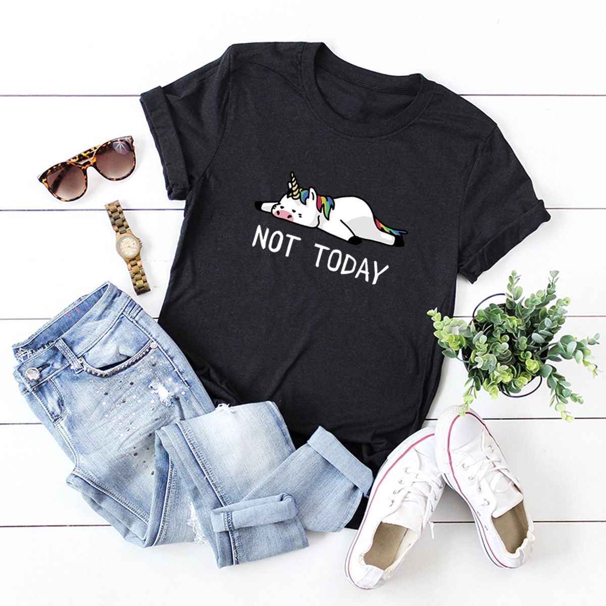 Hd478a0b336454744b5414c9feb94ebc4y - NOT TODAY Unicorn Printed 100% Cotton Short-sleeved Women's T-shirt Casual Soft Female T shirt Women Plus Size Top