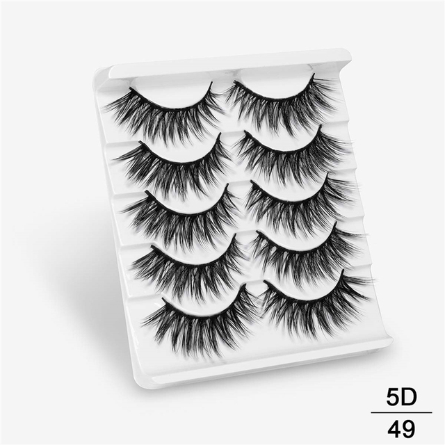 SEXYSHEEP 5Pairs 20-25mm 3D Faux Mink Hair False Eyelashes Natural/Thick Long Eye Lashes Wispy Makeup Beauty Extension Tools 2