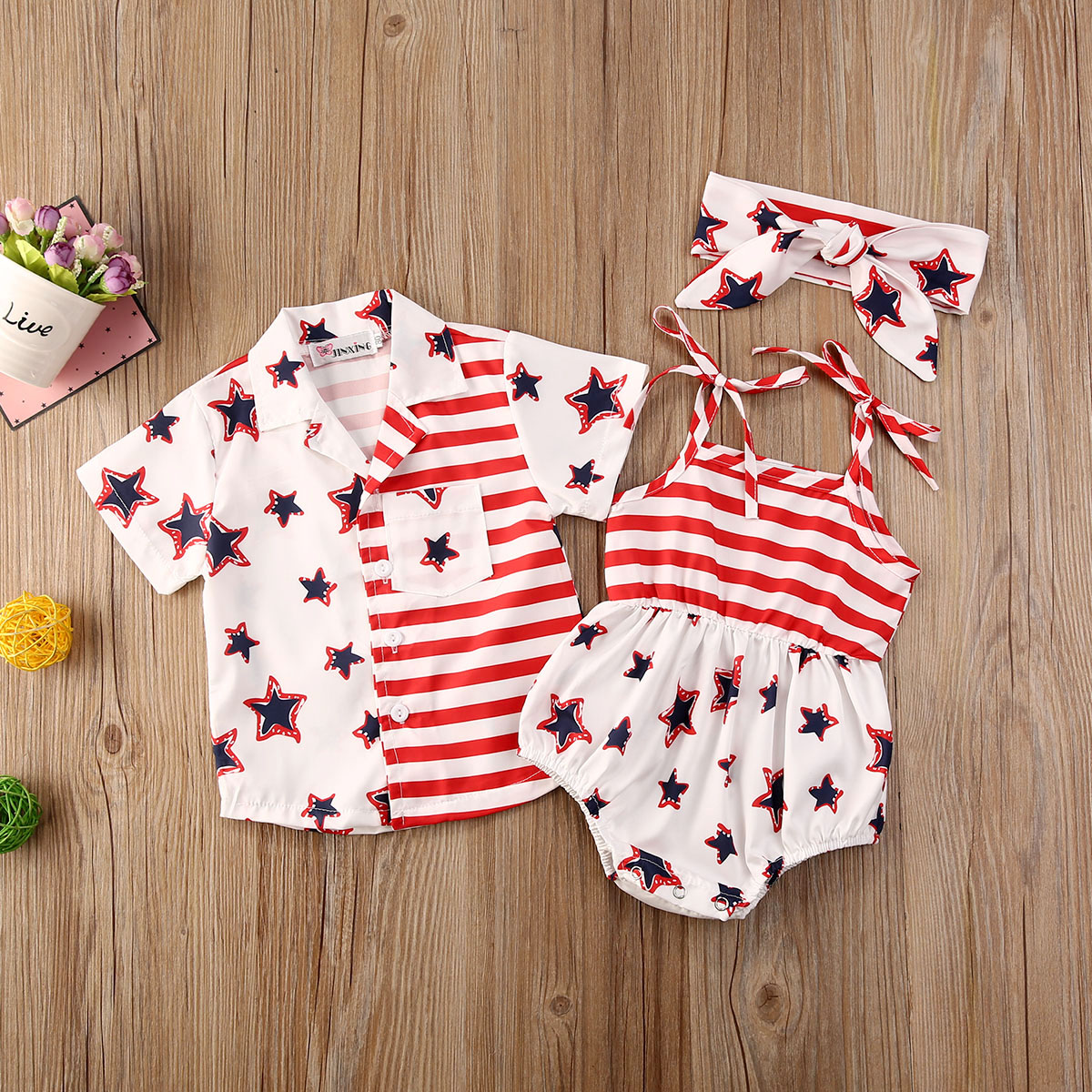Kids Infant Baby Girls Independence Day 3Pcs Outfit Flared Sleeve Crop Top Shorts Headband Clothes Set
