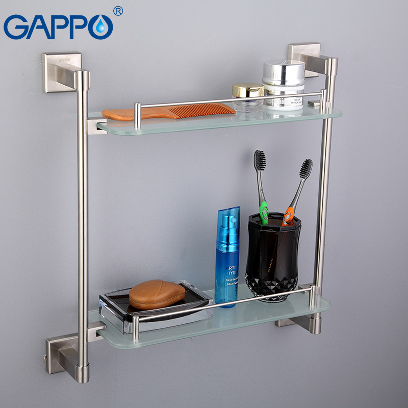 GAPPO Stainless Steel Wall Mount Bathroom Shelves Glass Shelf Holders Bath Double Layer Storage Shelf Bath Hardware Shower Stand