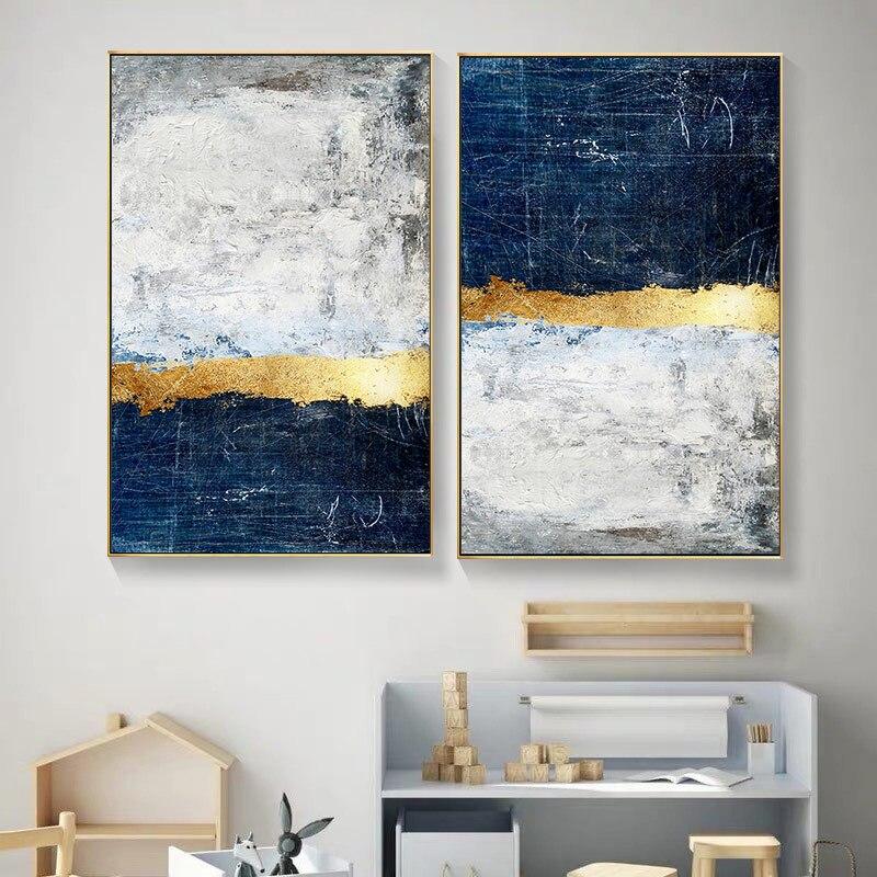 Абстрактная Золотая фольга, холст, живопись, Синий принт, плакат, Современная Золотая Настенная картина для гостиной, темно-синего цвета, домашний декор
