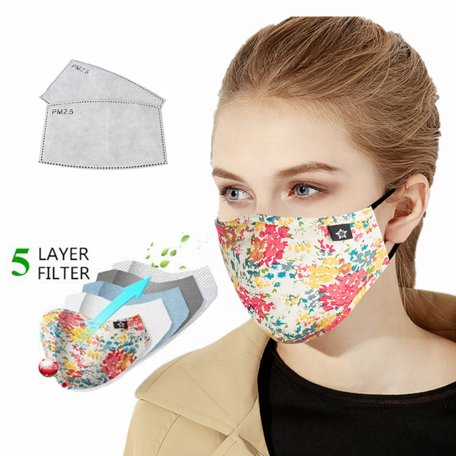 women Cotton PM 2.5  mouth Mask anti dust mask Activated carbon filter Windproof Mouth-muffle bacteria proof Flu Face masks Care 2