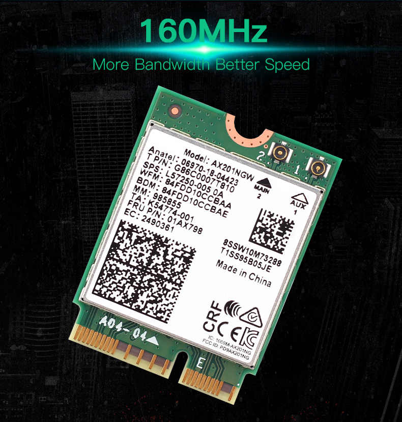 Placa wi-fi 6, banda dupla, 2400mbps para intel ax201 bluetooth 5.0 ngff key e cnvio 2 ax201ngw 2.4ghz/5ghz 802.11ac/ax
