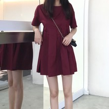 Summer Beach Dress Elegant Vintage Kawaii Wine Red Casual Sundress O neck Mini