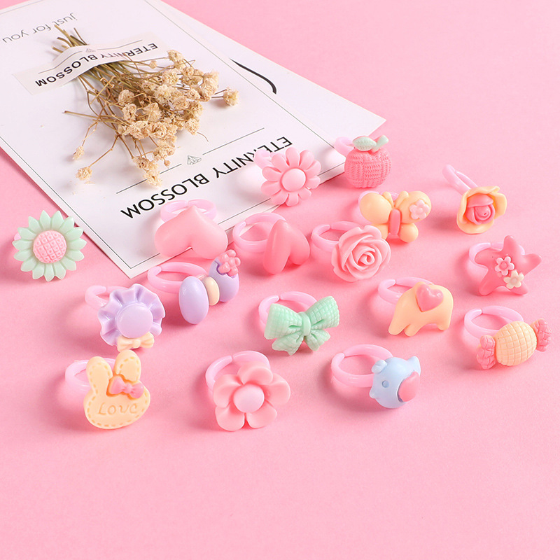 10pcs/Bag Kawaii Children Cartoon Rings Set Kids Toys For Girls Children Accessories Beauty Fashion Toys Makeup Resin Gifts