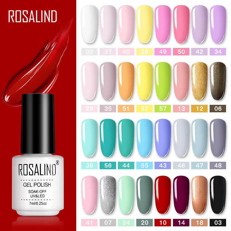 ROSALIND Gel Polandia Set Manikur Kuku Semi Permanen Pernis Top Coat UV LED Gel Varnish Soak Off Nail Art gel Cat Kuku