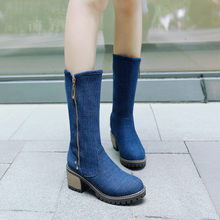 2018 Autumn Collee Chunky Block Hih Heels Zipper Mid Calf Blue Black Denim Rivets Lady's Boots Plus Size Shoes Women(China)