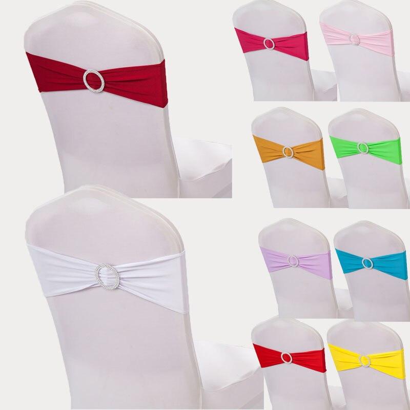 Romantic Wedding Spandex Chair Streamer Buckle Glitter Decoration Hotel Restaurant Party Elastic Decorative Chair Streamers