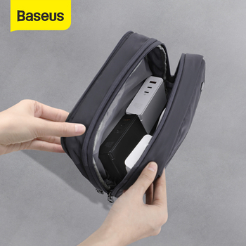 Baseus Waterproof Digital Pouch Cable Storage Bag Charger Wires Organizer Case Double Zipper Bag Travel Electronic Storage Bag image