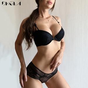 Image 2 - Передние закрывающие бюстгальтеры, трусики, комплекты, кружева, вышивка, женское белье, комплект бюстгальтер, черный пуш ап, бюстгальтеры, комплект сексуального нижнего белья