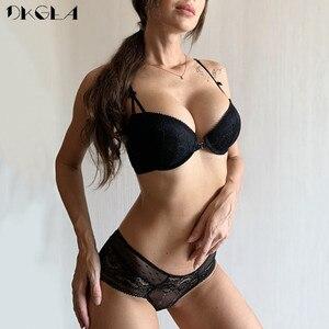 Image 2 - Biustonosz zapinany z przodu majtki komplety koronkowy haft komplet bielizny damskiej zbierz biustonosz czarne grube biustonosze Push Up seksowna bielizna komplet